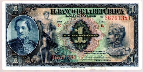 COLOMBIA NOTE $1 1940 VF+