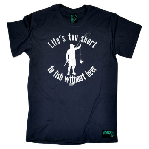Fishing T-Shirt Funny Novelty Mens tee TShirt Lifes Too Short To Fish Without