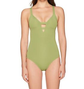 Seafolly-Womens-Swimwear-Moss-Green-US-6-Active-Plunge-Maillot-Swimsuit-118-500