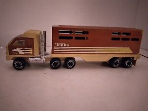 VINTAGE TONKA SEMI CATTLE HORSE TRAILER 811974-A. Pressed Steel. Very Nice!!