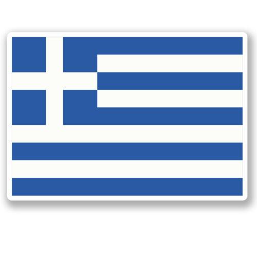 2 x 10 cm Autocollant Vinyle Drapeau Grèce Bagage Voyage iPad Ordinateur Portable Casque Grec # 4828