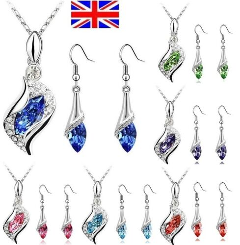 UK Stock Valentine Stunning Crystal Pendant Necklace + Earrings Dangle Set 618