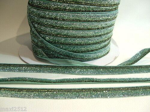 TTLGR03 Green 5m x 10mm Shaded Velvet Lame Glitter Ribbon