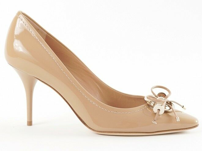 New New New Christian Dior Beige Patent Leather Metal Twist Pumps 38.5 US 8.5 875d83