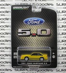 Greenlight-1-64-LBE-Exclusive-R1-1991-FORD-MUSTANG-GT-5-0-Race-Yellow-1-of-1008