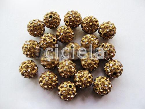 20X Hi-Q diamantes de imitación de cristal checo arcilla redondo Bola de discoteca Pave Espaciador del grano Craft