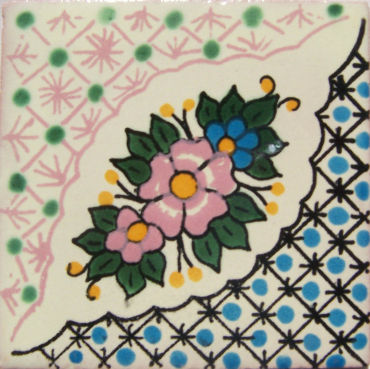 C238- Mexican Handmade Talavera Clay Tile Folk Art 4x4