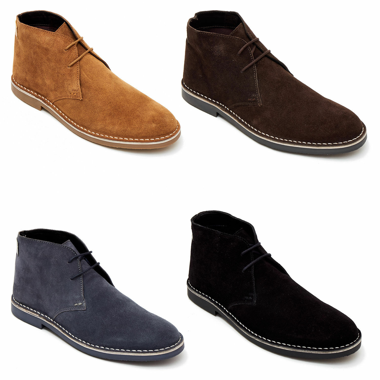 Lucini Mens Real Suede Casual Retro Chukka Lace Desert Ankle Boots shoes Size
