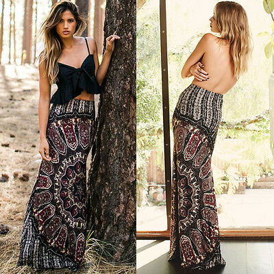 Sexy Womens Summer Boho Long Maxi Evening Party Dress Beach Waist Skirt Sundress