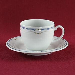 1 Untertasse 1 Tasse blauer Rand Porzellan Ascona Seltmann Weiden