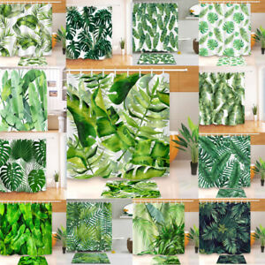 CHIC-TROPICAL-PALM-LEAF-POLYESTER-BATH-SHOWER-CARPET-MAT-RUG-CURTAIN-W-HOOKS-71-034