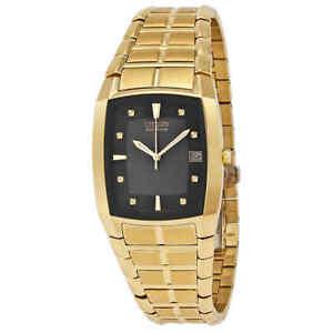 Citizen-Men-039-s-Eco-Drive-Black-Dial-Yellow-Gold-tone-Watch-BM6552-52E