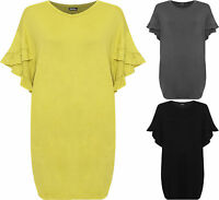 Plus Womens Frill Pocket Knee Length Dress Ladies Short Bell Sleeve Round Neck