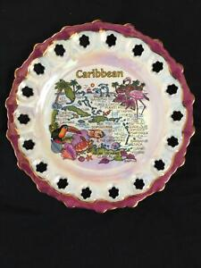 Vintage Carnival Glass Iridescent Caribbean Souvenir Collectible Plate Decor