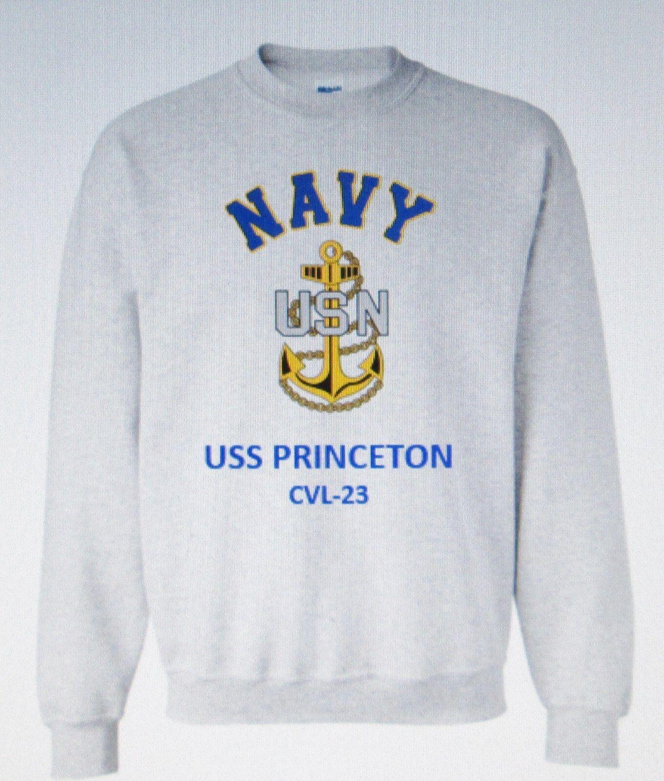 USS PRINCETON  CVL-23 AIRCRAFT CARRIER NAVY ANCHOR EMBLEM SWEATSHIRT