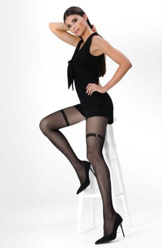 Black Suspender Effect Argyle Pattern with Belt 20 den Women Tighst Hosiery T140