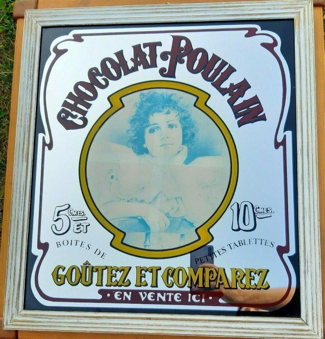 Grand Miroir Publicitaire ancien Chocolat Poulain hauteur 56,4 cm largeur 51 cm