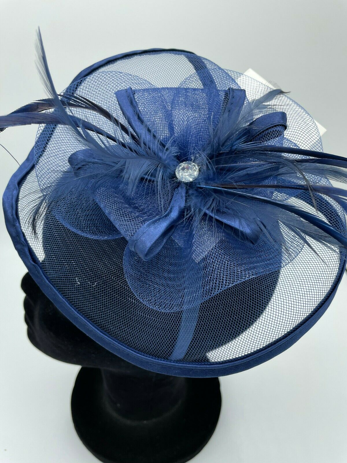 * Brand new navy blue clip on fascinator + head band wedding formal hat feathers