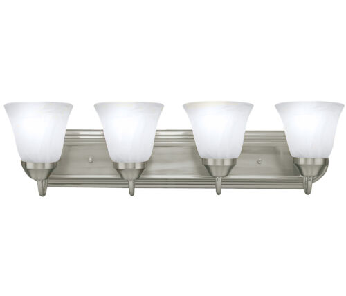 Brushed Nickel Four Globe Bathroom Vanity Light Bar Bath Fixture Alabaster Glass