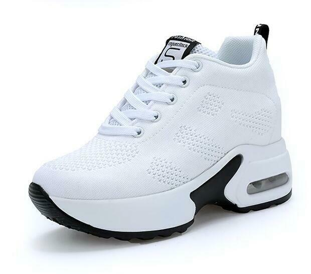 Fashion Womens Mesh Hip Top Sneakers Lace Up Hidden Wedge Casual Sport shoes SZ
