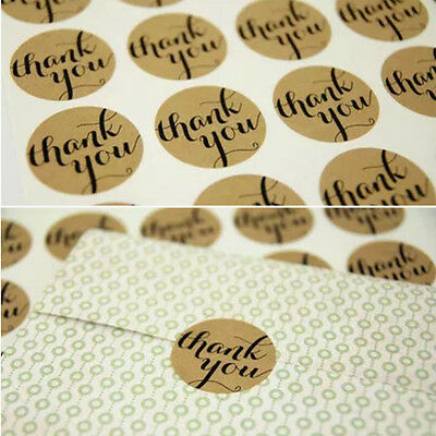 "12X ""Thank You"" Craft Kraft Paper Sticker Labels Seal Favours Gift Cupcake"