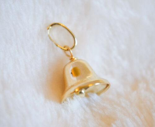 Jingle Bell Pendentif Véritable 14k or Jaune Anneau Charme