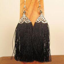 "3"" Long Black Tassel Bohemian Style Handmade Dangle Earring FREE SHIPPING!!"