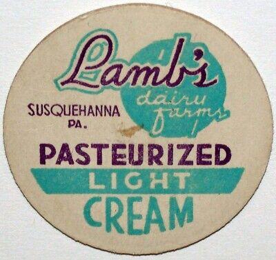 Vintage milk//cream paper bottle cap LAMB/'S Dairy Farm  Susquehanna Pa NOS $6.00