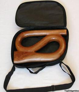 Forme De S Didgeridoo + Sac Sculpté à La Main Art Acajou Bois Massif Voyage
