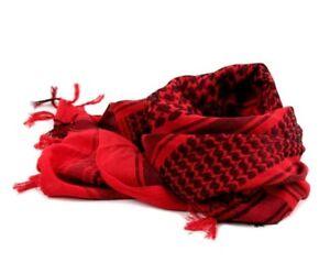 57905fcbb678 100% Woven Cotton Military Shemagh Headscarf Keffiyeh Veil Wrap Red ...