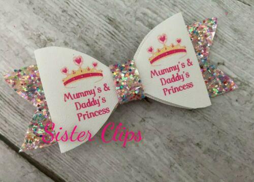 Girls handmade mummy /& daddy/'s princess glitter bow clip