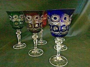 Czech-bohemia-crystal-glass-Cut-Liquer-glasses-multicolor-14cm-6pc-II