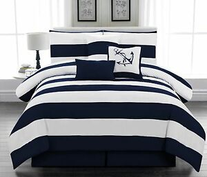 5pc Microfiber Nautical Comforter Set Navy Blue And White Striped