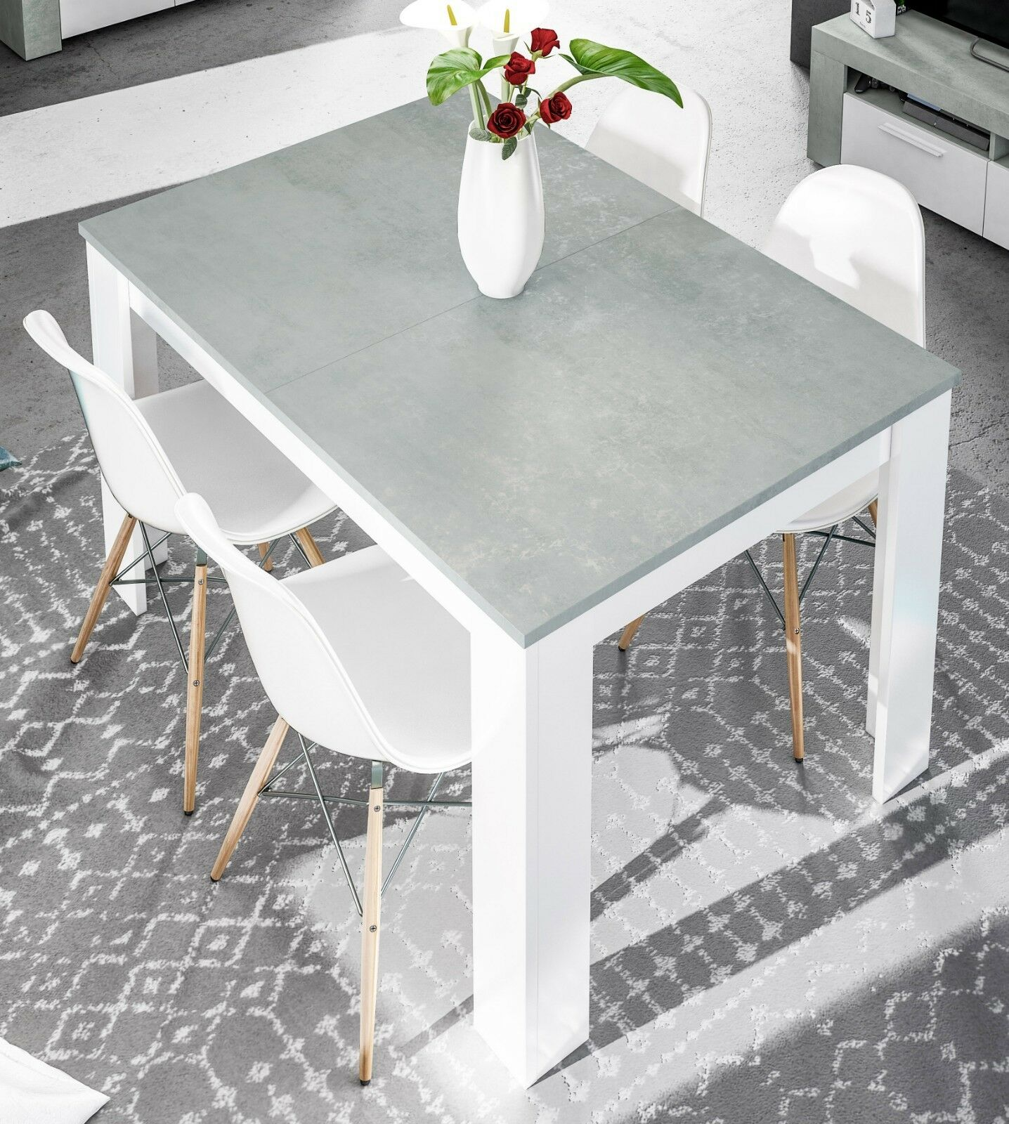 Mesa comedor extensible salon moderno color blanco y cemento 140-190x90x78 cm