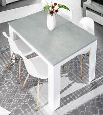 Mesa comedor extensible Salon moderno color blanco y cemento 140 ...