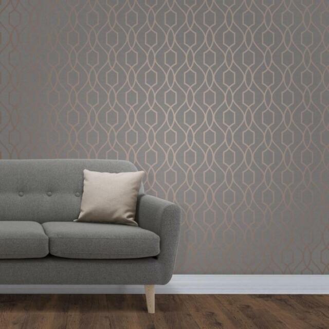 Fine Decor Fd41998 Apex Geometric Trellis Wallpaper Charcoal