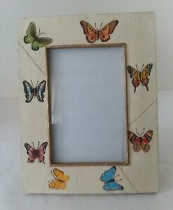 Ceramic-Square-Gold-Tone-Butterfly-Picture-Frame-3-3-4-034-x-5-1-2-034