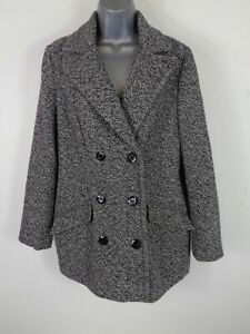 WOMENS-M-amp-CO-GREY-BLACK-BUTTON-UP-DOUBLE-BREASTED-SMART-WINTER-COAT-JACKET-UK-12