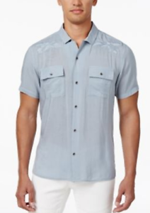 I-N-C Mens Embroidered Denim Button Up Shirt
