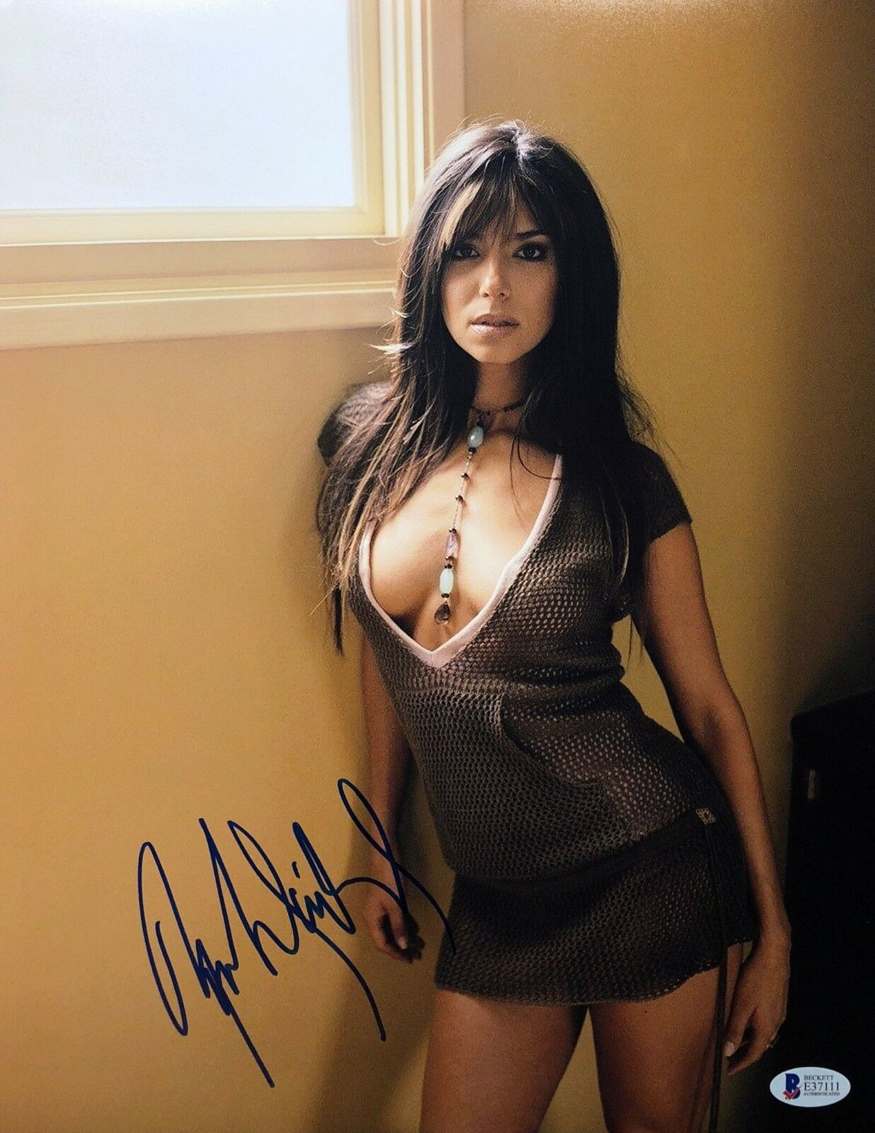 Roselyn Sanchez Signed 11x14 Photo *Model *Game Plan *Act of Valor BAS Beckett