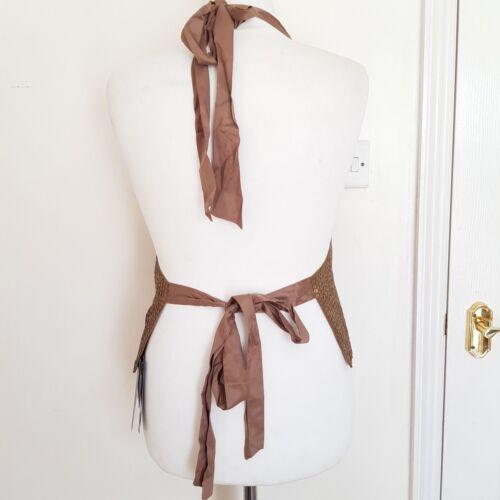 10 New Back Signature Tie Paillettes Womens Sz Next gioiello Gilet Gold Halterneck PrqxHPwWz7