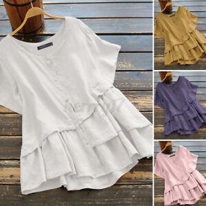 ZANZEA-Womens-Short-Sleeve-O-Neck-Solid-Cotton-Tunic-Shirt-Tee-Casual-Top-Blouse
