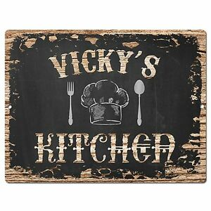 Details About Pp2485 Vicky S Kitchen Plate Chic Sign Home Kitchen Decor Birthday Gift