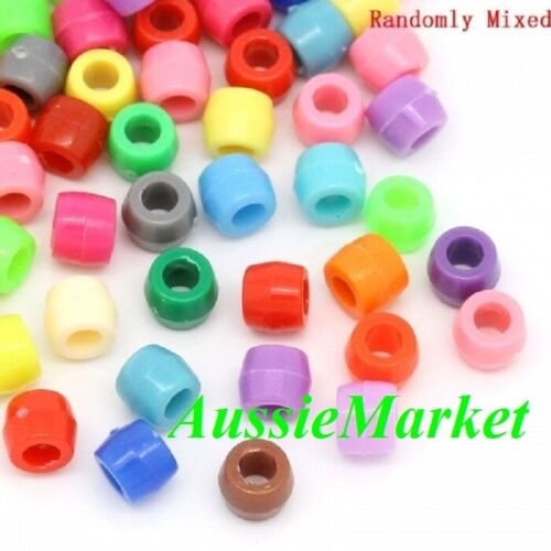 100 x pony beads acrylic plastic colourful mixed colours big hole 8mm x 6mm new