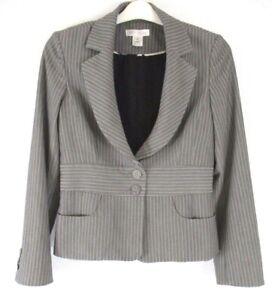 White-House-Black-Market-WHBM-Blazer-Jacket-Sz-8-Gray-Striped-Career-DD331