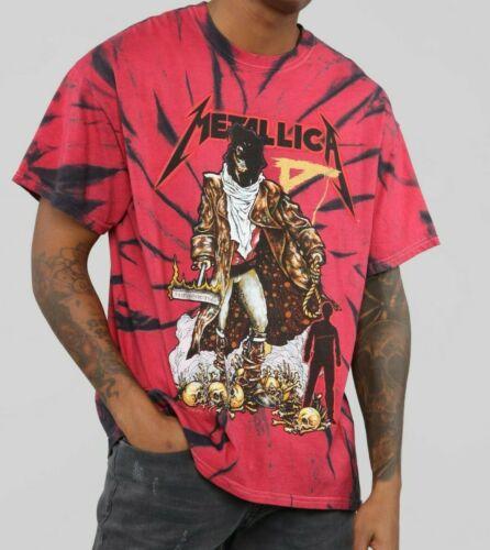 Metallica Treasure Skull Red Tie Dye T-Shirt Mens Metal Bravado Tee Fashion Nova