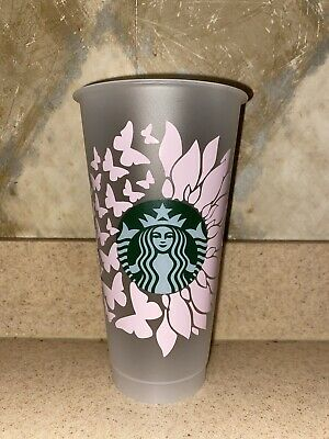 Sunflower with butterfly Cold Cup Starbucks Cold CupCustomSunflowerSunflower Butterfly Starbucks reusable cup 24oz personalized gift