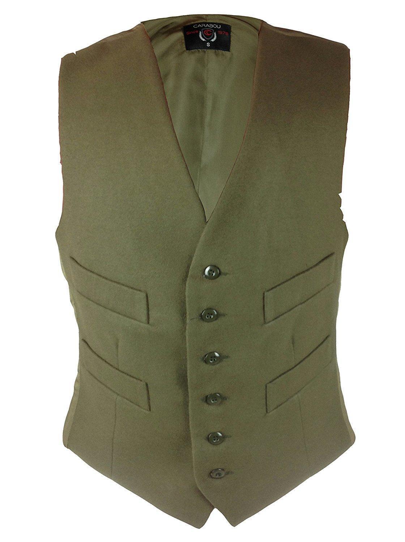 New Mens Carabou Countrywear Smart Formal Moleskin Buttoned Waistcoat Olive