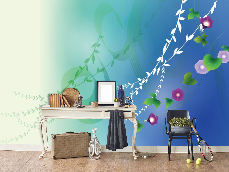 3D blue, Blätter, Blüten 735 Fototapeten Wandbild Fototapete BildTapete Familie