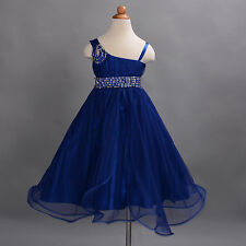 New Girls Dark Blue Flower Girl Bridesmaid Pageant Party Dress 7-8 Years